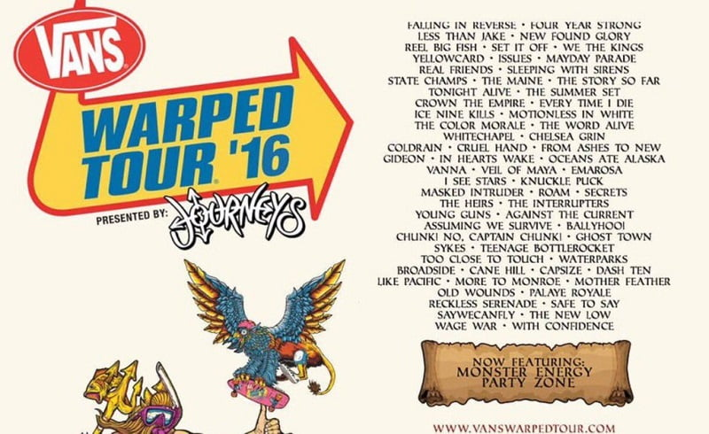 Warped Tour 2016 line-up