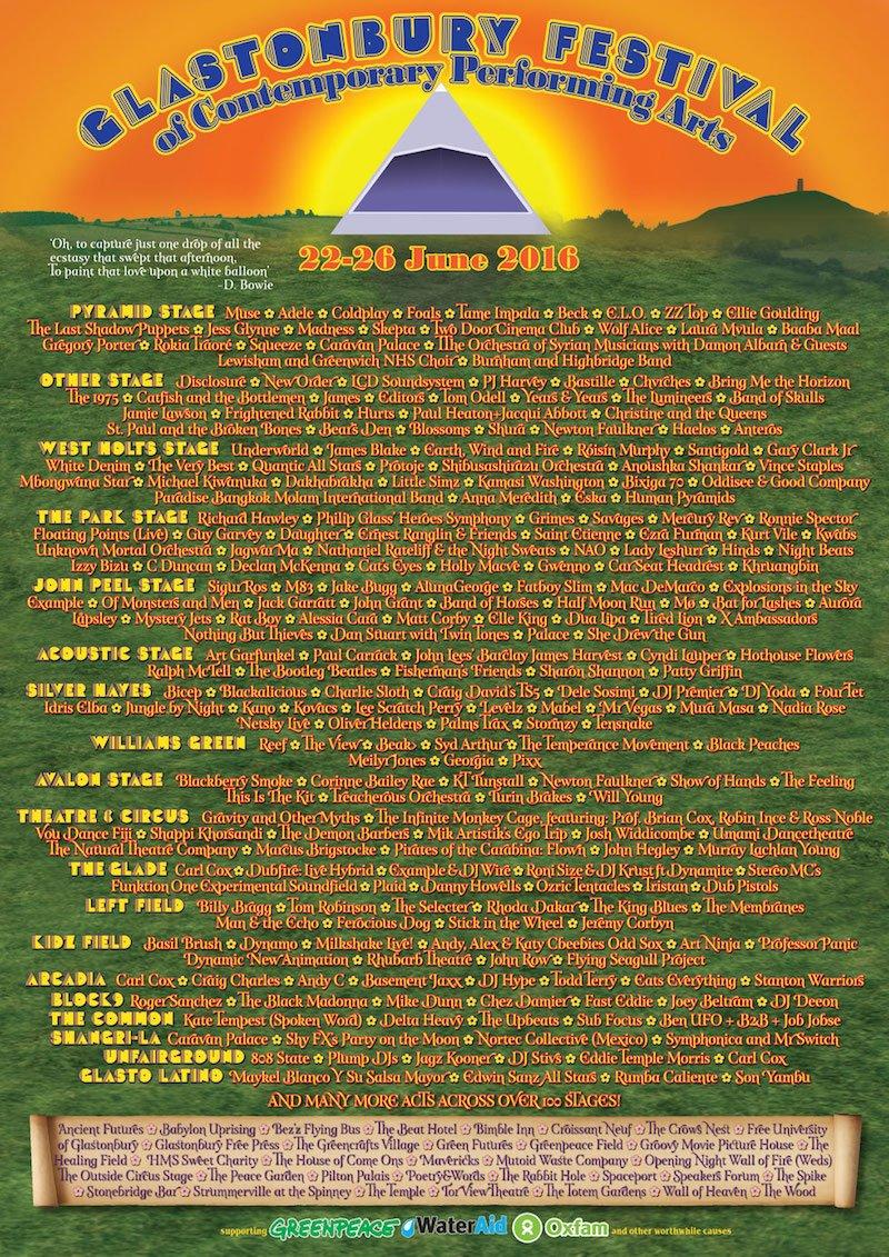 Glastonbury 2016 final line-up poster, EE