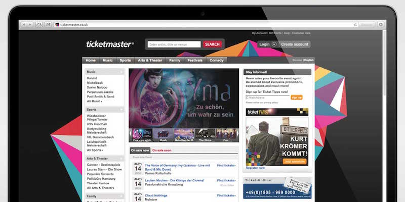 Ticketmaster website on desktop/laptop, DCFolio.com