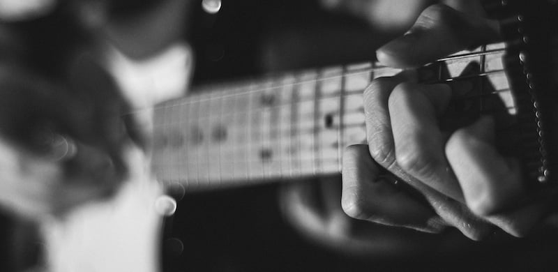 B&W guitar, Help Musicians UK, Music and Depression