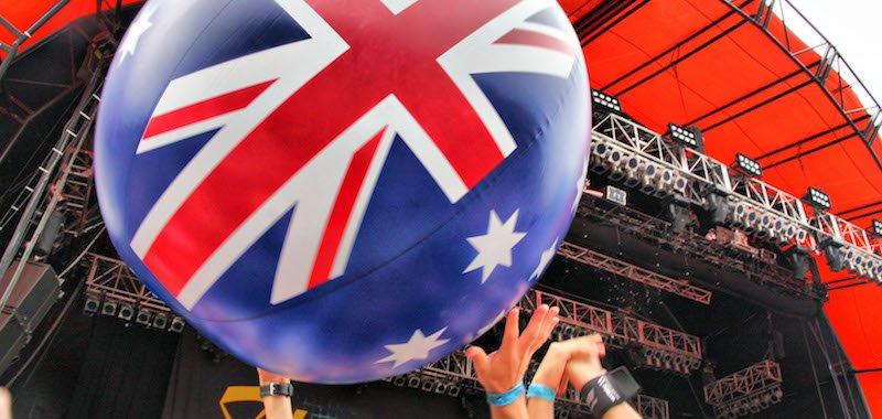 Australian flag beach ball, Big Day Out 2011, Sydney, Eva Rinaldi