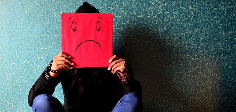 Man Sitting Sad Depressed Mask Face Unhappy