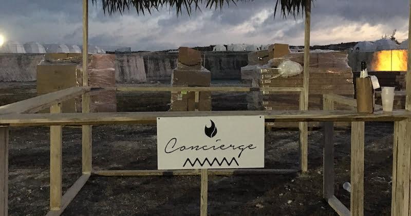 Concierge stand, Fyre Festival 2017, Grand Exuma, Bahamas