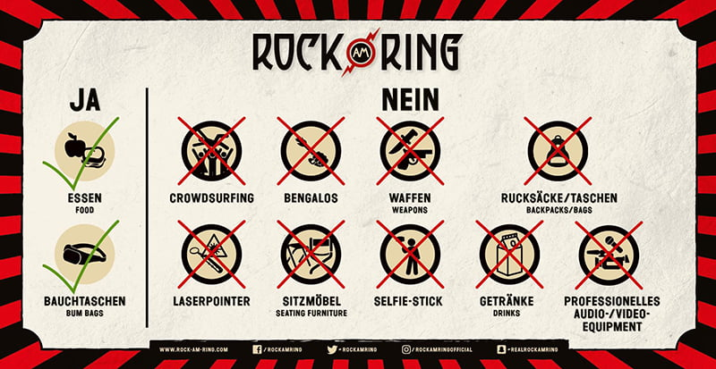 Rock am Ring/Rock im Park prohibited items