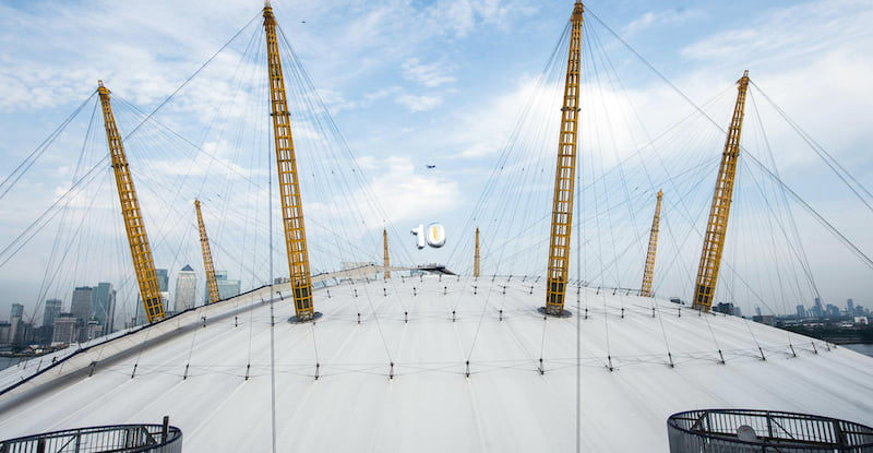 The O2, tenth birthday balloon