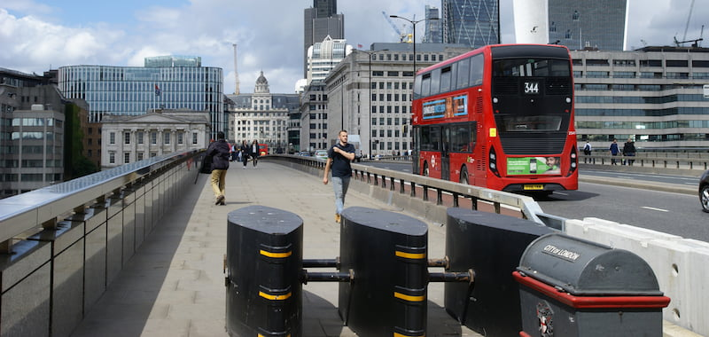 Anti-vehicle bollards, London, Bridge