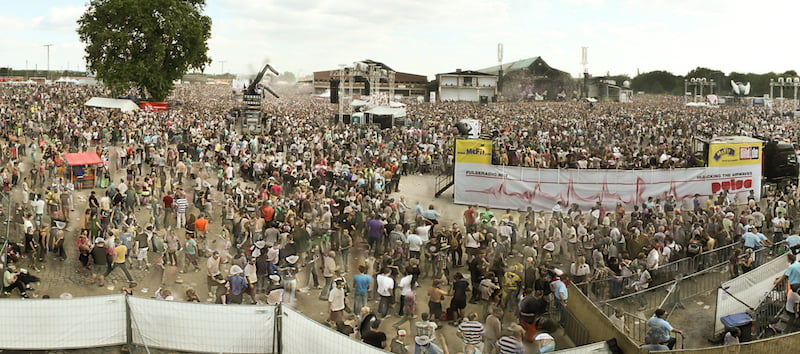 A panoramic view of the 'over-capacity' Love Parade 2010 site