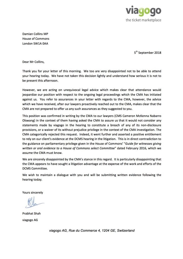 Prabhat Shah letter to Damian Collins MP