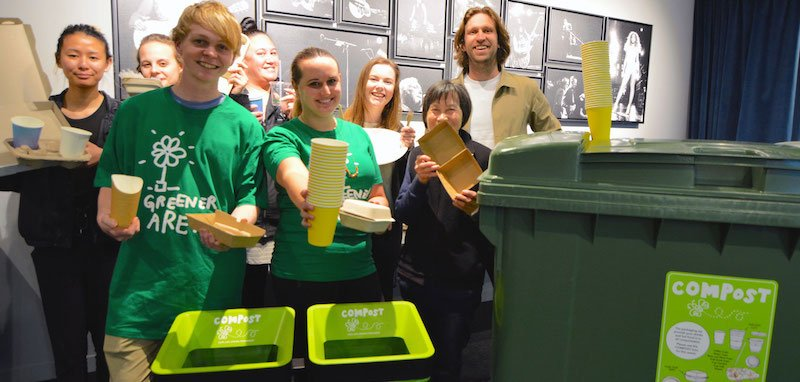 Spark Arena staff with the new compostable serveware