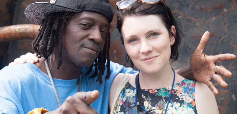 Sarah Nulty, pictured with Public Enemy's Flavor Flav, was honoured with the outstanding contribution award
