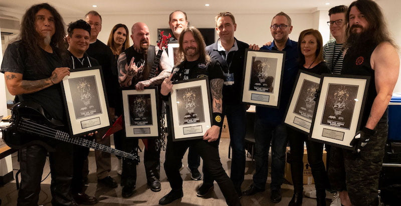 Tom Araya and Ernie Gonzalez (Slayer); John Jackson (K2 Agency); Kristen Mulderig (manager); Kerry King (Slayer); Rick Sales (manager); Gary Holt (Slayer); John Drury; Andy Copping (Live Nation); Jane Miller (K2 Agency); James Harrison; and Paul Bostaph (Slayer)
