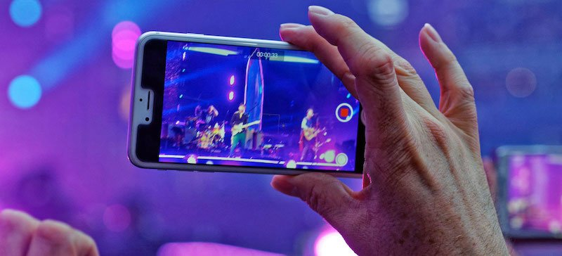 Mobile phone at Coldplay show