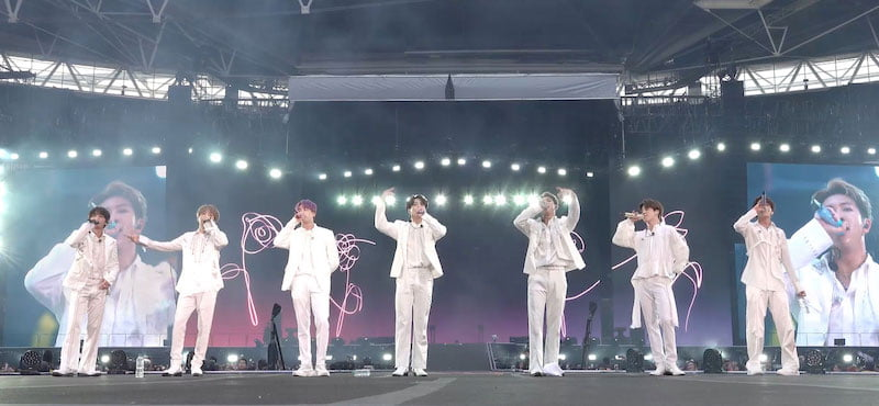 BTS on stage at Wembley Stadium on 1 June