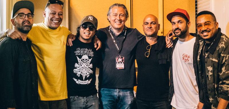 Álvaro Covões (centre) announces Portuguese hip-hop stars Da Weasel as the first act for Alive 2020