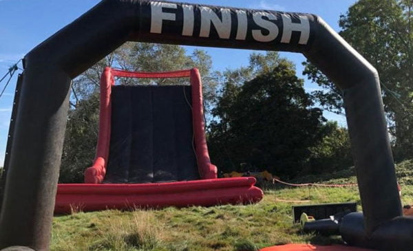 The final Music Mudder obstacle and finish line