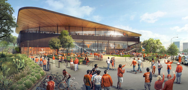 An artist's impression of Moody Center's new west entrance