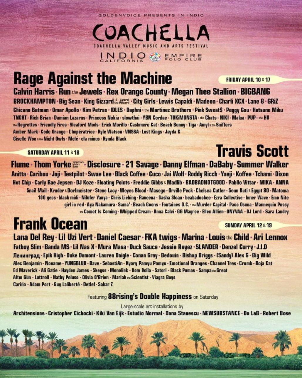 Coachella 2020 line-up revealed