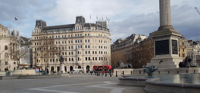 London's normally bustling Trafalgar Square stands empty on 20 March