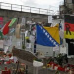 A memorial to Love Parade 2010 victims outside the tunnel where the crush occurred