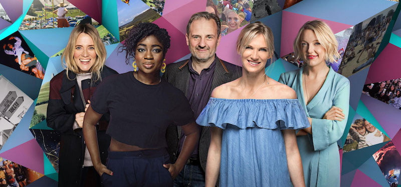 Glastonbury Experience presenters Edith Bowman, Clara Amfo, Mark Radcliffe, Jo Whiley and Lauren Laverne