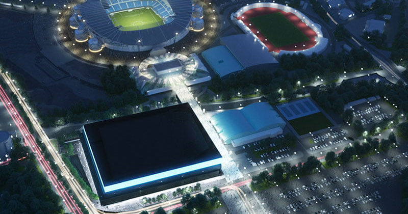 The Eastlands arena would sit adjacent to Manchester City FC's Etihad Stadium