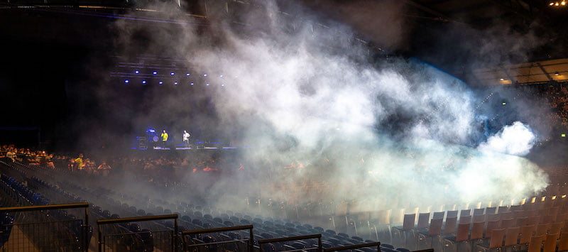 The Restart-19 experiment used a smoke machine to model the spread of aerosols