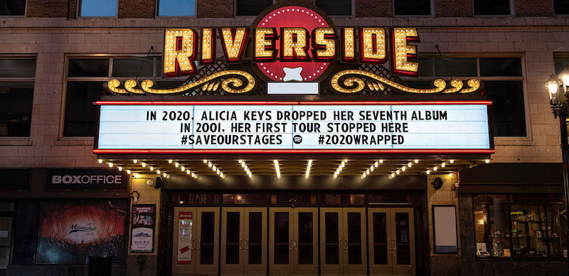 Spotify's marquee for Alicia Keys at the Riverside Theater in Milwaukee