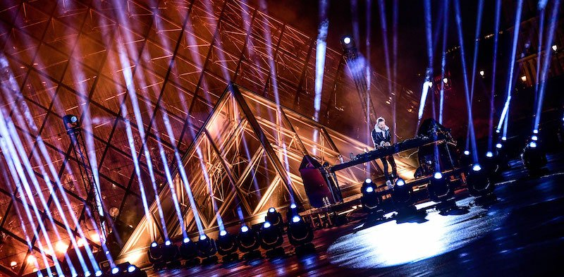For the third United at Home show, David Guetta DJed at the Louvre in Paris
